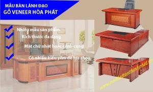 Mẫu bàn lãnh đạo gỗ veneer nội thất hòa phát